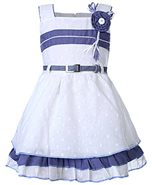 Babyhug Sleeveless Frock With Waist Belt - White And Blue