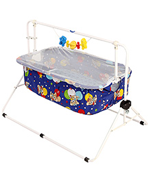 New Natraj Cradle With Mosquito Net Royal Blue - Teddy Family Print