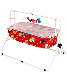 New Natraj Comfy Cradle With Mosquito Net Red - Teddy Family Print