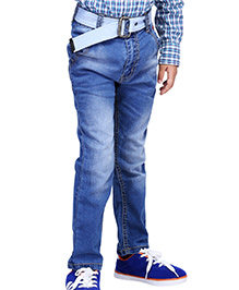 Babyhug Full Length Jeans Printed Back Pockets - Light Blue