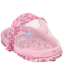 Mee Mee Mattress Set With Mosquito Net Floral Print - Pink