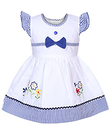 Babyhug Cap Sleeves Frock - Floral Embroidery And Stripes Print