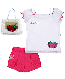 Rosy Bow Top And Shorts And Hand Bag - Strawberry Print