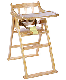 Wooden High Chair - Cream And Yellow