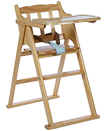 Wooden High Chair - Cream And Blue