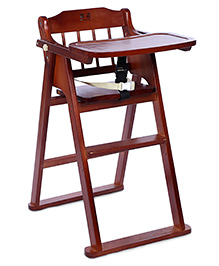 Wooden High Chair With Safety Harness - Dark Brown