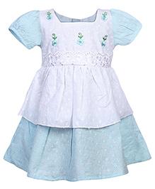 Babyhug Short Sleeves Frock - Blue