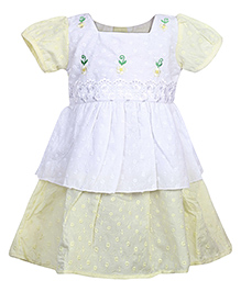 Babyhug Short Sleeves Frock - Yellow
