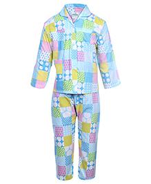 Babyhug Full Sleeves Night Suit - Aqua Blue