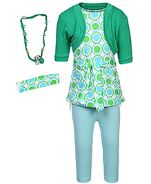 bio kid Tunic Leggings And Cardigan With Necklace And Hairband - Green