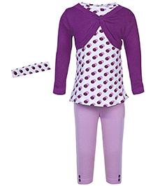 bio kid Tunic Leggings And Cardigan With Headband - Purple