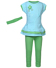 bio kid Tunic And Full Leggings With Hairband - Turquoise And Green