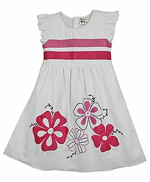 Ssmitn Sleeveless Frock White And Pink - Floral Applique