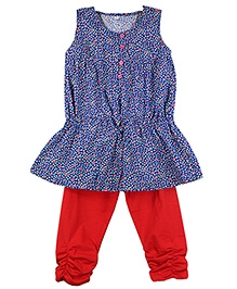 Ssmitn Printed Sleeveless Cotton Long Top With Elasticated Leggings - Blue And Red