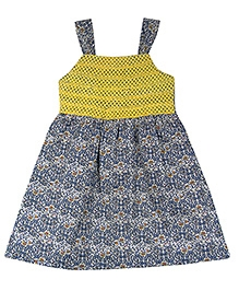 Ssmitn Laced Cotton Frock - Blue And Yellow