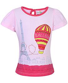 Babyhug Short Sleeves Top Pink - Hot Air Balloon Print