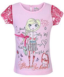Babyhug Netted Short Sleeves Top Printed - Pink