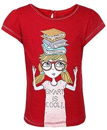 Babyhug Short Sleeves Top Printed - Dark Red