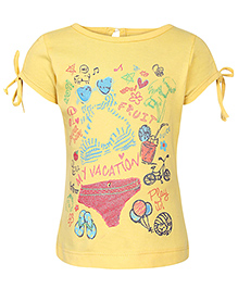 Babyhug Short Sleeves Top Multi Print - Yellow