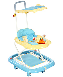 Baby Walker With Canopy Duck Face Design - Blue