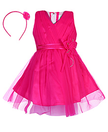 Babyhug Sleeveless Party Frock With Hair Band -  Fuchsia