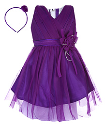 Babyhug Sleeveless Party Frock With Hair Band -  Purple