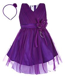 Babyhug Sleeveless Party Frock With Hair Band -  Purple