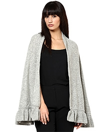 Pluchi Fashion Knitted Poncho Lambswool - Daisy Grey