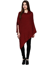 Pluchi Cotton Knitted Nursing Poncho Emma - Red And Black