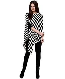 Pluchi Fashion Knitted Cotton Poncho Kia -  Black And Ivory