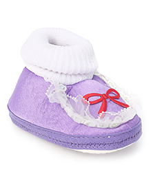 Cute Walk Booties Bow Applique And Lace Detail - Purple - Toe To Heel (Insole Measurement) 10.0 Cm