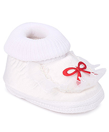 Cute Walk Booties Bow Applique And Lace Detail - White - Toe To Heel (Insole Measurement) 10.0 Cm