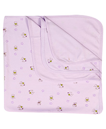 Pink Rabbit Blanket Wrapper Baby Print - Purple