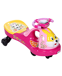 Swing Car Ride On Rabbit Face Design - Green Color Buttons On Steering - Over All Dimensions 40 X 83 X 35 Cm