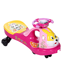 Swing Car Ride On Rabbit Face Design - Blue Color Buttons On Steering - Over All Dimensions 40 X 83 X 35 Cm