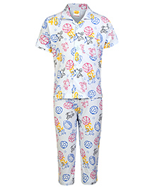 Little Half Sleeves Night Suit Ball Print - Light Sky Blue