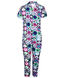 Ollypop Half Sleeves Night Suit Football Print - Multi Colour