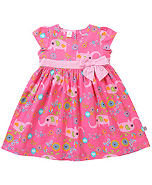 ToffyHouse Short Sleeves Frock Pink - Butterfly Print