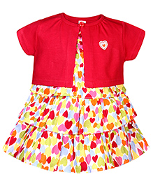 ToffyHouse Frock With Shrug Heart Print - Light Yellow Base