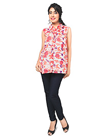 Nine Maternity Sleeveless Tropical Printed Blouse In Neon Shade