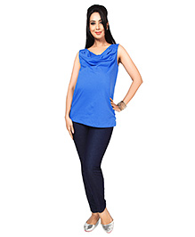 Nine Sleeveless Cowl Neck Nursing Top - Royal Blue