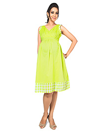 Nine Maternity Sleeveless Dress With Check Details - Neon Green