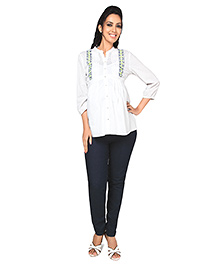 Nine Maternity Blouse In Swiss Dots With Embroidery Details  - White