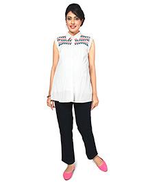 Nine Maternity Trendy Tribal Embroidery Shirt - White