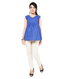 Nine Maternity Hakoba Fabric Sleeveless Blouse - Blue