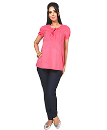 Nine Maternity Smart Blouse With Pleat Details - Pink