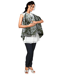 Nine Scarf Cum Nursing Cover Printed - Olive Green