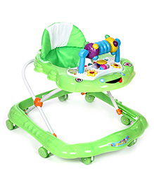 Baby Walker With Play Tray With Blue Toy Frog Design - Green And White