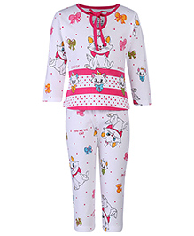 Doreme Full Sleeves Night Suit Kitty Print - White And Pink