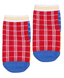 Mustang Socks Checks Pattern - Red And Royal Blue